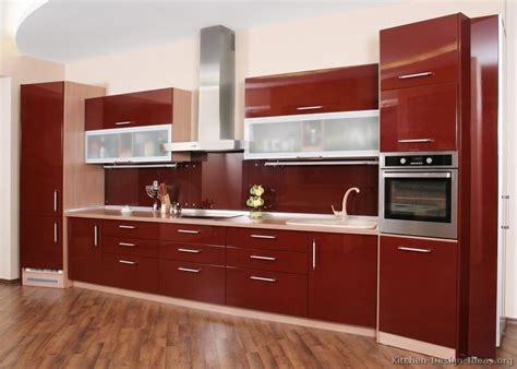 Frosted Glass Backsplash In Kitchen by Pictures Of Kitchens Modern Red Kitchen Cabinets