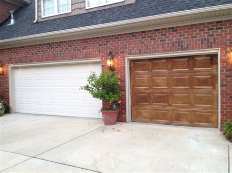 Wood Stained Garage Doors Gel Stained Garage Doors To Look Like Wood Painted Garage Garage Doors And Doors