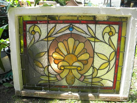 vintage stained glass ls vintage antique 1910 leaded stained glass window panel
