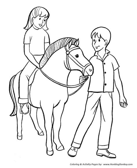 horse coloring pages boy and girl with pony coloring