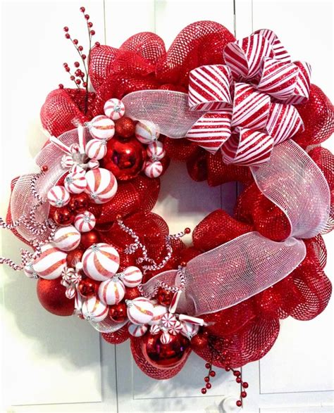 deco mesh christmas wreaths home decor red white christmas