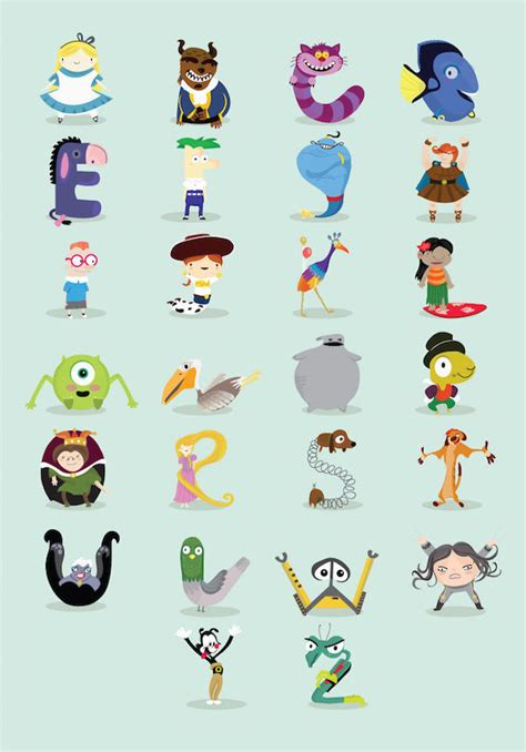 Disney Character Letter L Disney Alphabet Illustrations Disney Alphabet