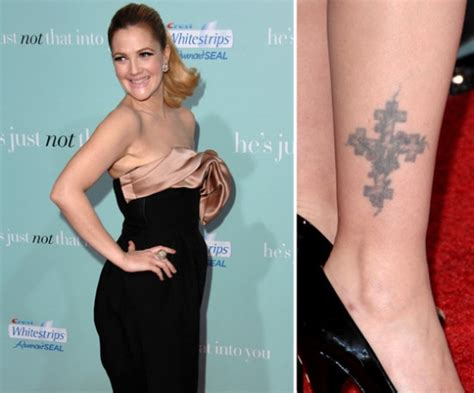 drew barrymore tattoos drew barrymore tattoos of cross butterfly