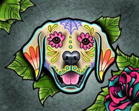 Photographic Wall Murals quot day of the dead golden retriever sugar skull dog quot by