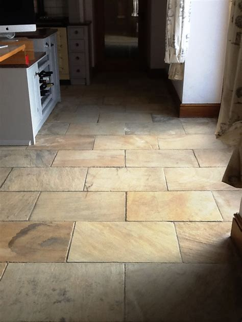 How To Seal Tile Floor by Heavily Soiled And Stained Sandstone Kitchen Tiles Cleaned
