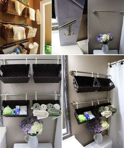bathroom basket storage just towel rods and baskets made this brilliant bathroom