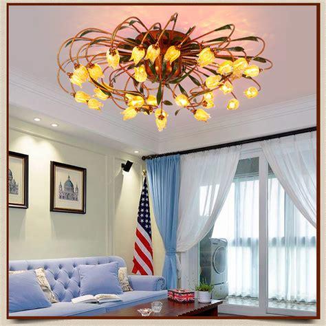 Artistic Ceiling Lights Glass Flower Green Leaves Ceiling Lights American Garden Artistic Ceiling Lighting Living Room