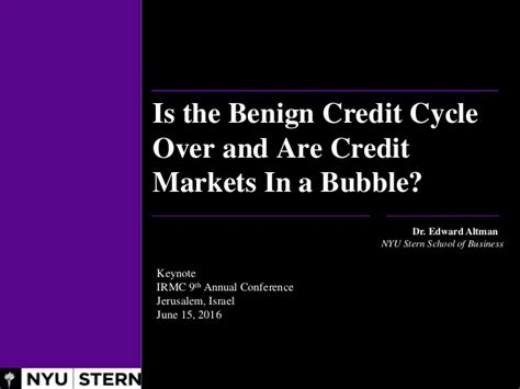 How Many Credits Nyu Mba by Irmc2016 Keynote Speech Edward I Altman Lecture Title