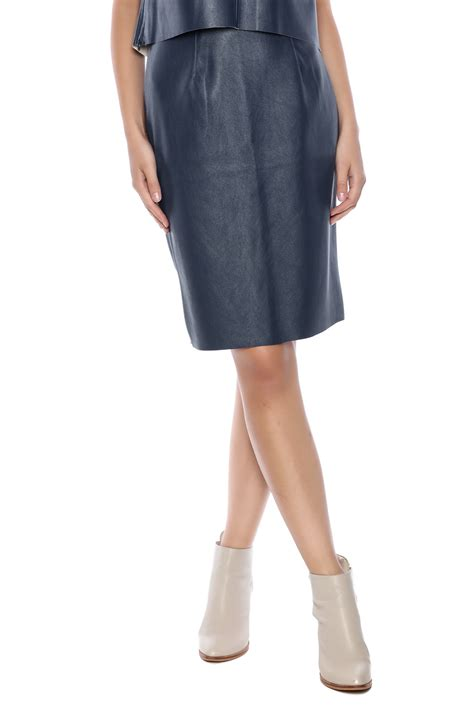 riche blue faux leather skirt from florida by