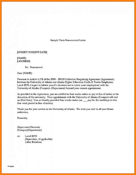Nonrenewal Of Lease Letter Template resignation letter not resigning lease letter unique no