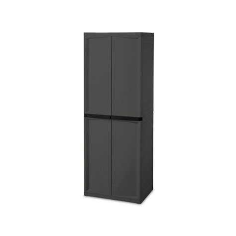 4 Shelf Cabinet by Sterilite 4 Shelf Cabinet Flat Gray Cabinet With Black Handles