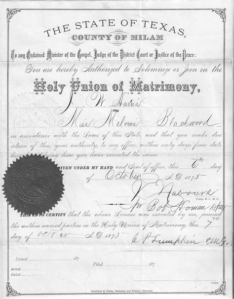 Cameron County Marriage Records Milam County Marriage Records