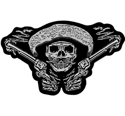 Motorrad Patches Marken by Bandidos Backpatch Skull Gekreuzte Pistolen Bandit