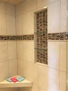 Bathroom Shower Insert Subway Tile Shower With Glass Tile Wall Insert Feature
