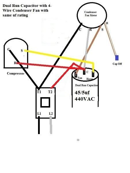 wiring a capacitor and condenser fan repair wiring scheme