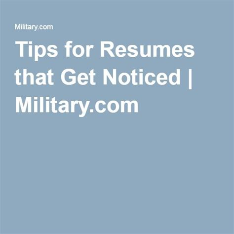Resume Tips To Get Noticed 1000 Images About Veterans Outreach Deployment To Employment On