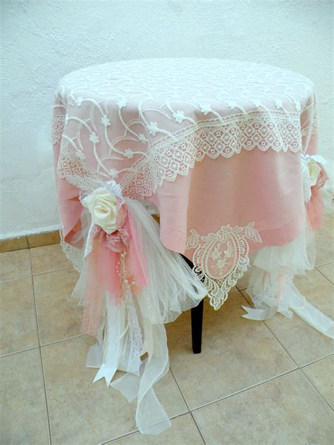 shabby chic wedding tablecloth dusty pale pink ivory linen