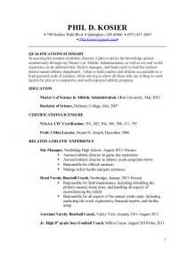 Cover Letter For Athletic Director by Phil Kosier Resume For Athletic Director