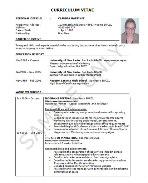 format of a cv with exle resume template 42 free word excel pdf psd format