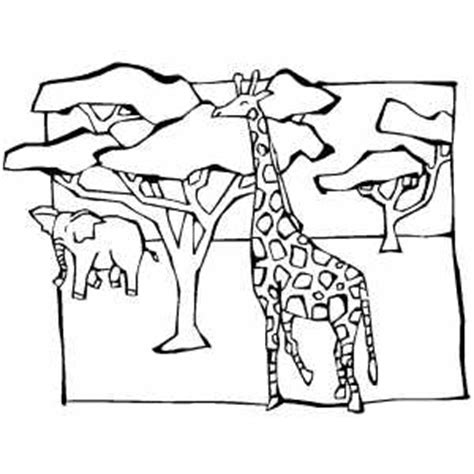 giraffe and elephant in savanna coloring page