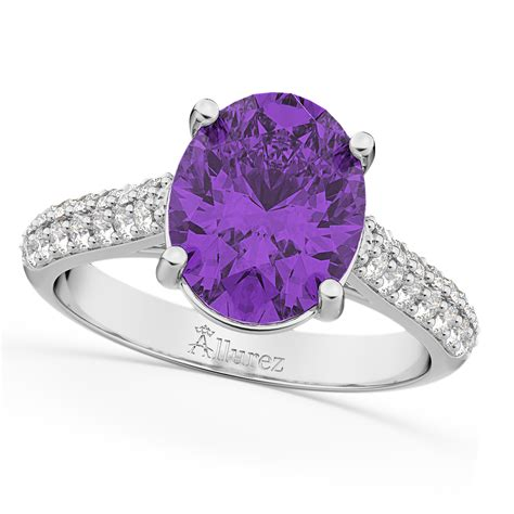 oval amethyst engagement ring 14k white gold 4 42ct