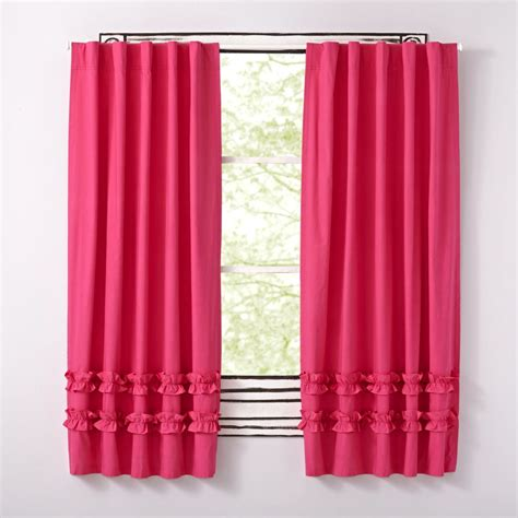 fushia pink curtains pink ruffle curtain the land of nod