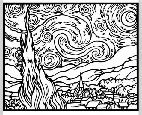 coloring page gogh starry starry coloring page az coloring pages