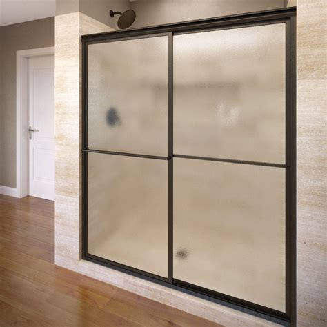 Obscure Shower Door Basco Deluxe 59 In X 71 1 2 In Obscure Framed Sliding Shower Door In Rubbed Bronze A0517
