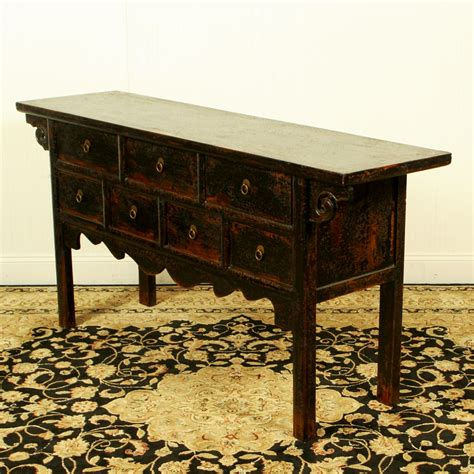 64 inch long black asian buffet table 17 quot deep 7 drawers