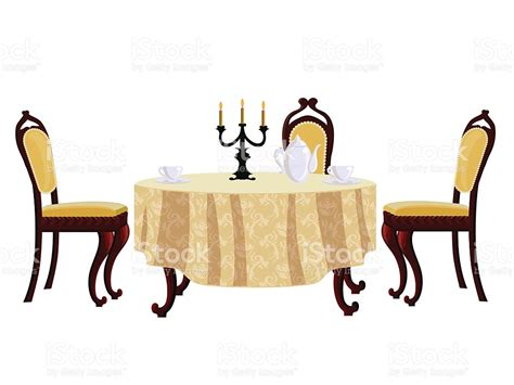 Vintage Style Dining Table And Chairs Dining Table And Chair In Vintage Style Stock Vector 615905030 Istock