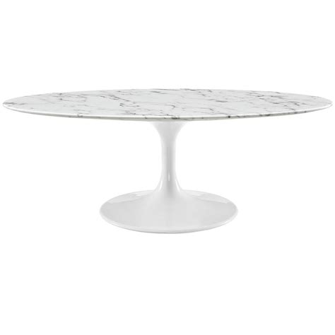 Lippa 48 Quot Oval Shaped Faux Marble Coffee Table W Metal Oval Shaped Coffee Table