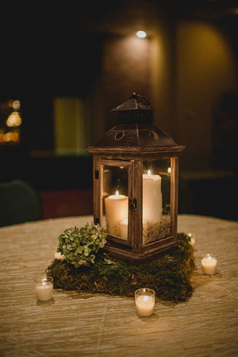 lantern centerpieces wooden lantern centerpiece with moss stand wedding