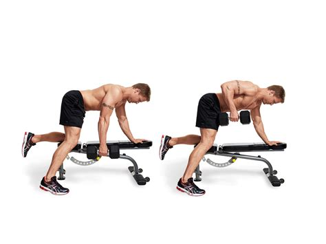 workout routine with dumbbells and bench dumbbell row men s fitness