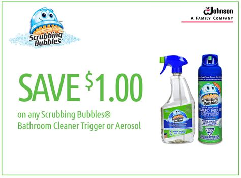 scrubbing bubbles bathroom cleaner coupon save 1 on scrubbing bubbles 174 daily shower cleaner