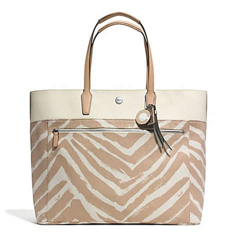 Coach Htons Large Signature Zebra Tote by Resort Zebra Print Large Tote F30062 Silver