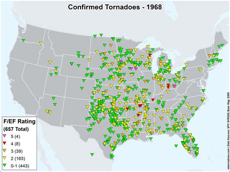 tornado map us tornadoes map1968 u s tornadoes