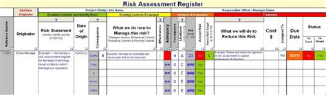 Risk Register Documents And Forms Spreadsheets Risk Register Template Excel Free