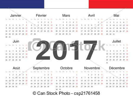 Calendrier 2017 En Francais Vecteur Clipart De Vecto Calendrier 2017 Francais