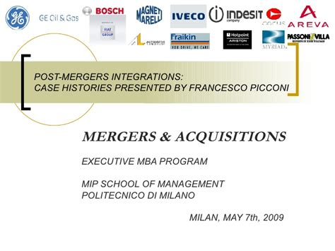 Mergers And Acquisitions Ppt For Mba by M A Presentation Mip Mba Polit Milan 8 May 2009 Picconi