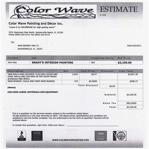 house estimate painting quote template