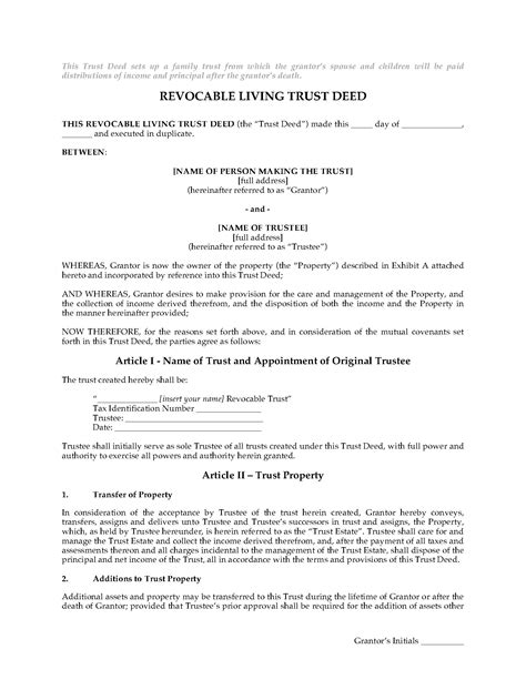 family trust template usa revocable living trust deed for family trust