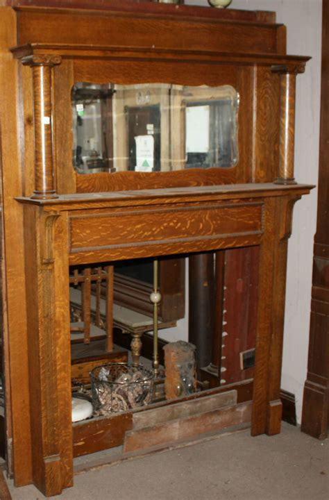 antique oak fireplace mantel w mirror home hearth