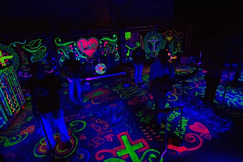 glow in the paint keyboard 90 s glow church stage design ideas