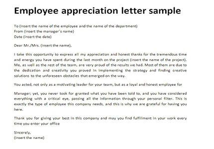 appreciation letter to employees exles employee appreciation letter sle just letter templates