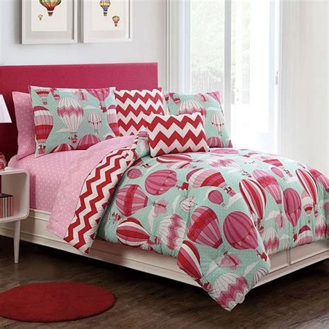 hot air balloon bedding cute bedding for girls mint pink and red hot air
