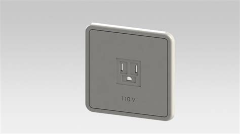 110 volt outlet stl step iges solidworks 3d cad