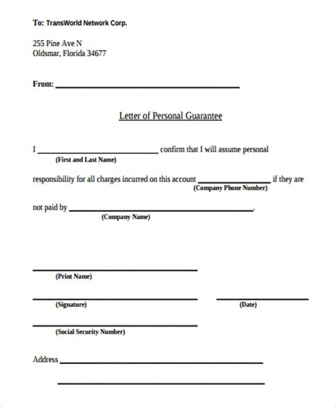 14 guarantee letter templates free word pdf format