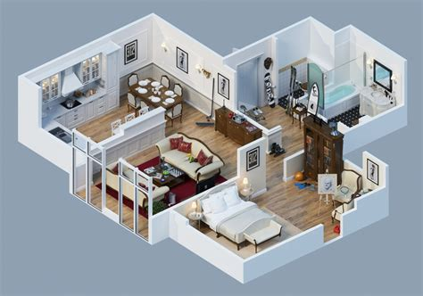 3d plans apartment designs shown with rendered 3d floor plans