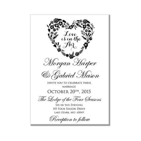 Wedding Invitation Template Love Is In The Air Heart Wedding Invitation Instant Download Microsoft Word Wedding Templates