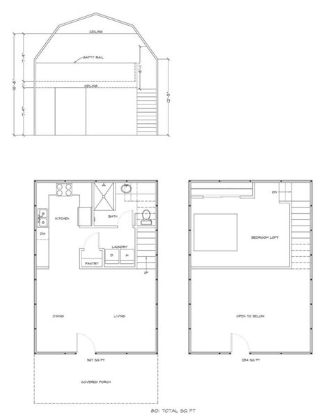 Deluxe Lofted Barn Cabin Floor Plan Gambrel House Kit Gambrel House Plans